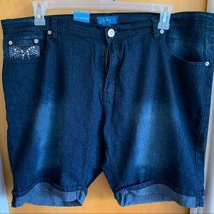 Pants - Denim shorts with studded pocket detail